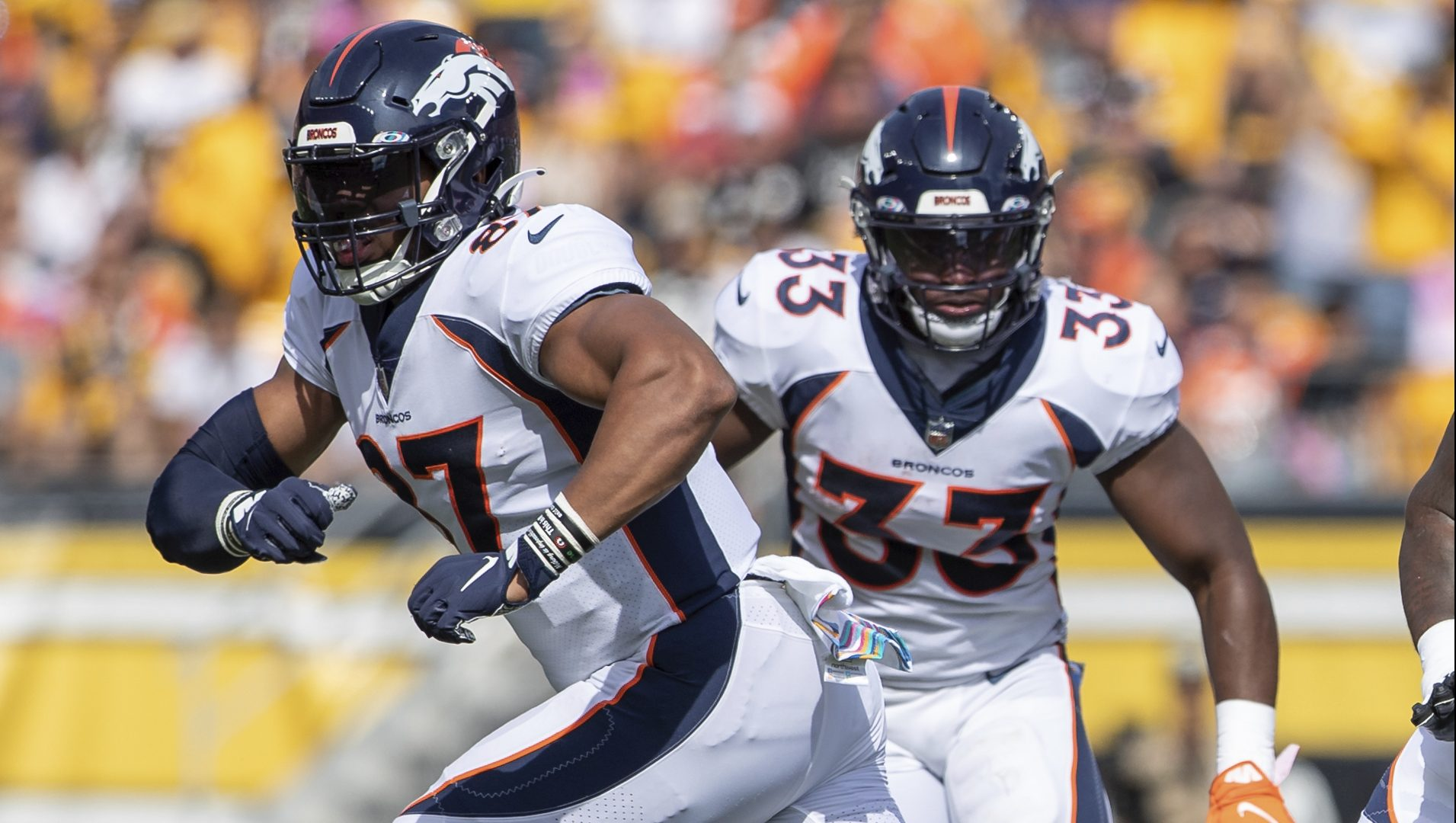 Denver Broncos tight end Noah Fant (87) looks to block during an NFL football game, Sunday, Oct. 10, 2021 in Pittsburgh.