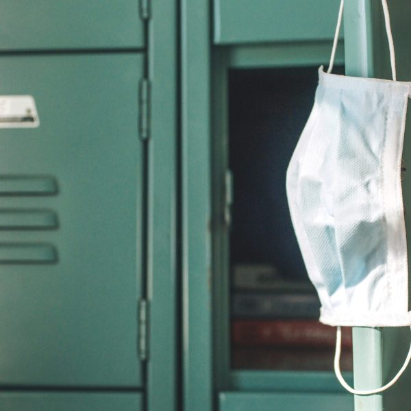 File photo: Surgical mask hanging from a locker at an unidentified school.
