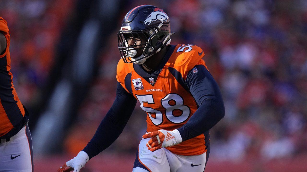 Denver Broncos outside linebacker Von Miller (58) against the Baltimore Ravens during the second half of an NFL football game, Sunday, Oct. 3, 2021, in Denver.